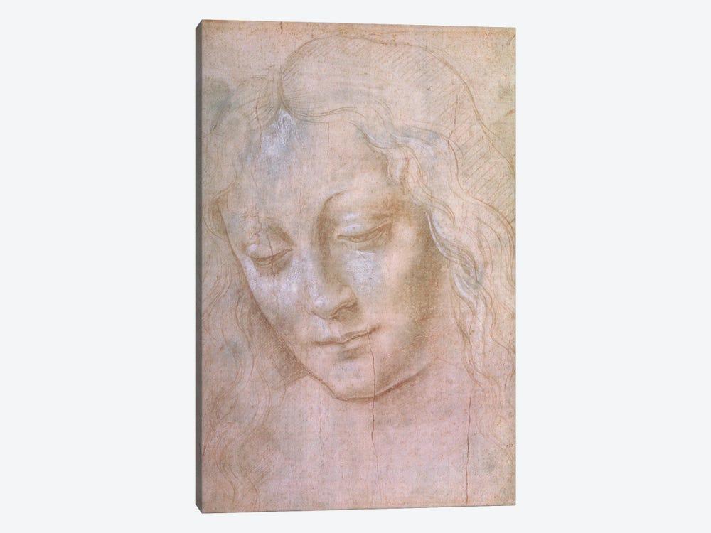 Head of a woman  by Leonardo da Vinci 1-piece Canvas Wall Art