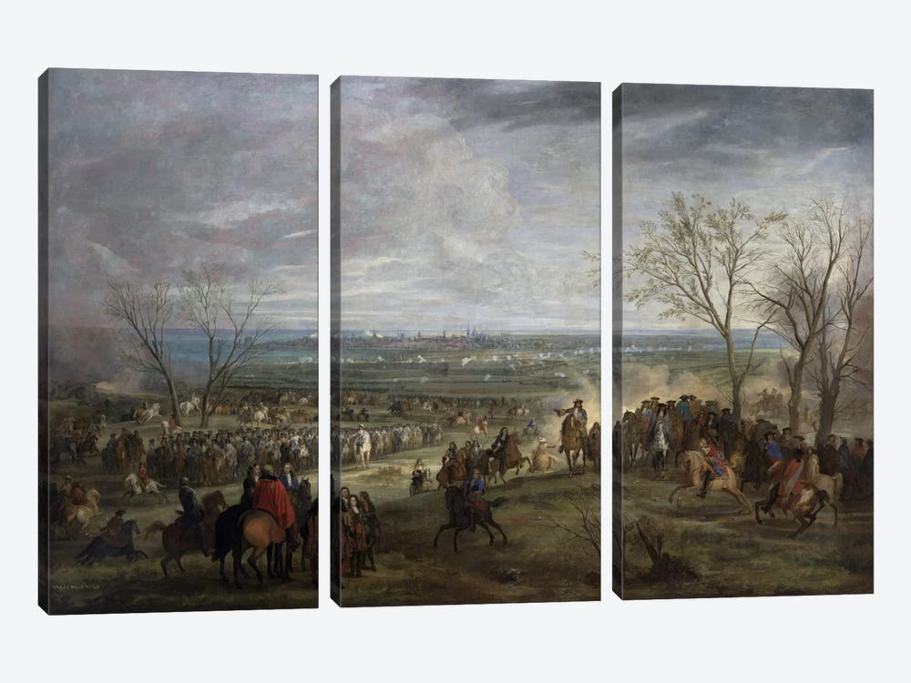 The Siege of Valenciennes, 1677 by Adam Frans van der Meulen 3-piece Canvas Art