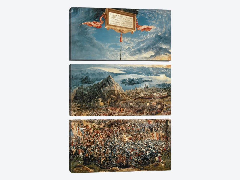 The Battle of Issus, or The Victory of Alexander the Great, 1529  by Albrecht Altdorfer 3-piece Canvas Art Print