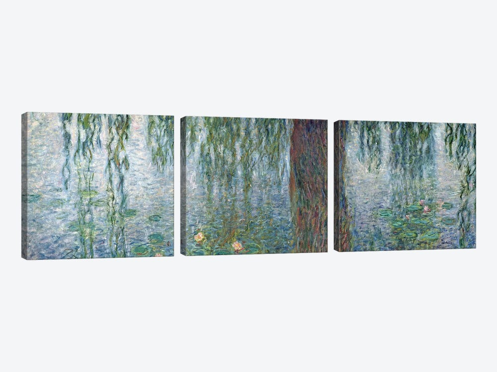 Waterlilies: Morning with Weeping Willows, detail of the left section, 1915-26   by Claude Monet 3-piece Canvas Art Print