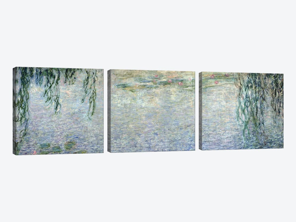 Waterlilies: Morning with Weeping Willows, detail of the central section, 1915-26   by Claude Monet 3-piece Canvas Art