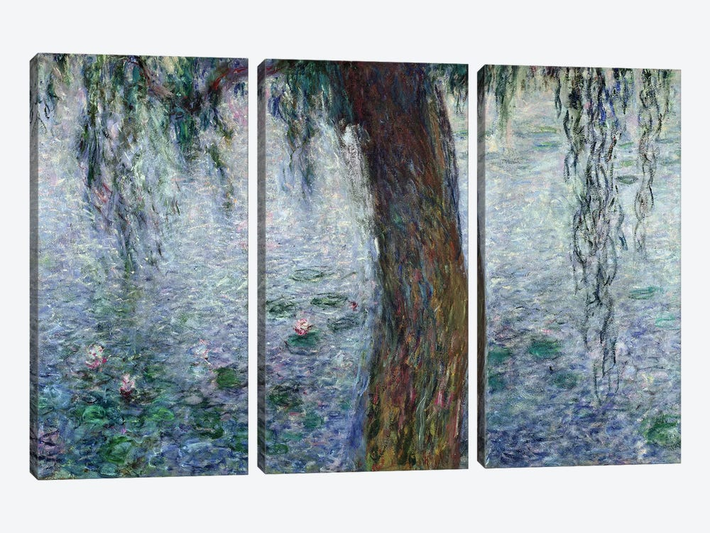 Waterlilies: Morning with Weeping Willows, detail of the right section, 1915-26   by Claude Monet 3-piece Canvas Art Print