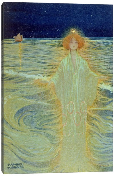 Ghost appearing above the sea during the night, early 20th century  Canvas Art Print