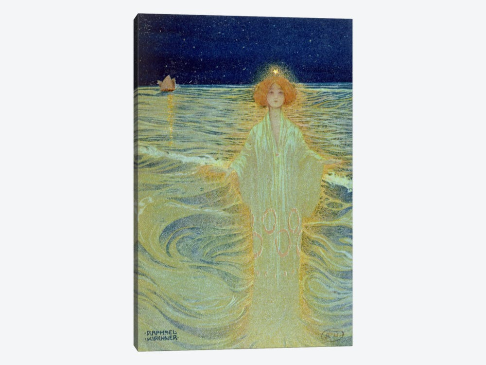 Ghost appearing above the sea during the night, early 20th century  by Raphael Kirchner 1-piece Canvas Artwork