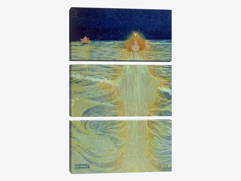 Ghost appearing above the sea during the night, early 20th century  by Raphael Kirchner 3-piece Canvas Artwork