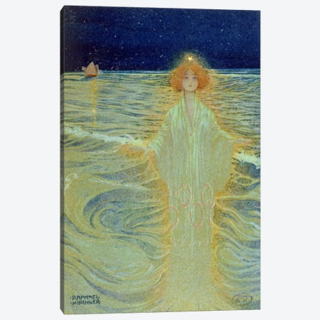 Ghost appearing above the sea during the night, early 20th century  3-Piece Canvas #BMN2199} by Raphael Kirchner Canvas Art