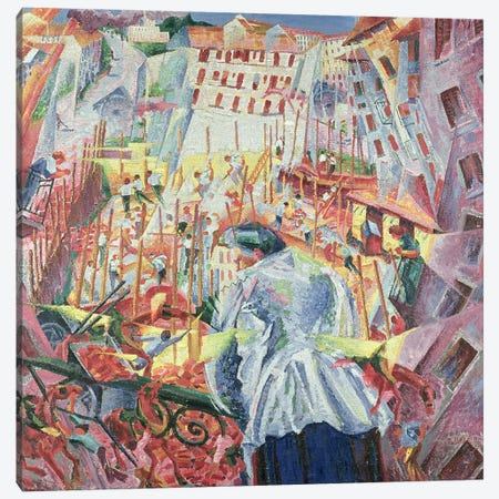 The Street Enters the House, 1911  Canvas Print #BMN219} by Umberto Boccioni Art Print