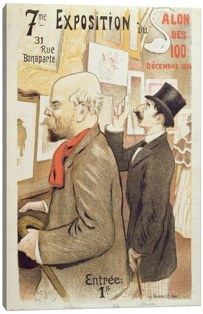 Poster advertising the '7th Exhibition of the Salon des 100', depicting Paul Verlaine  Canvas Art Print