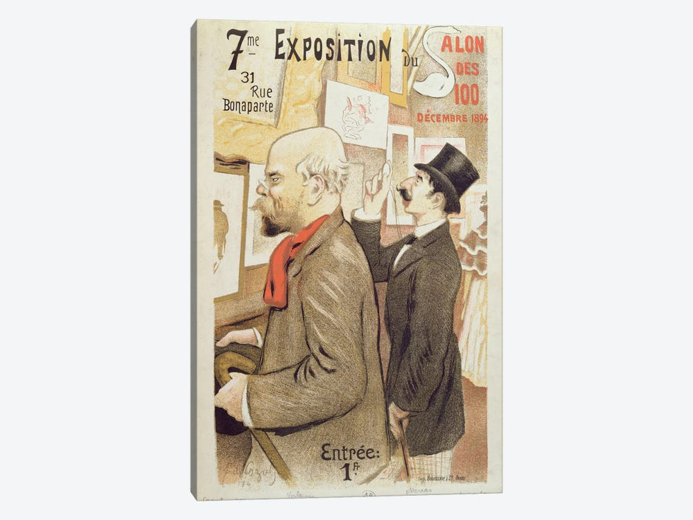 Poster advertising the '7th Exhibition of the Salon des 100', depicting Paul Verlaine by F.A. Cazals 1-piece Canvas Wall Art