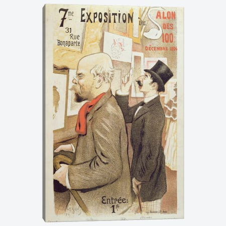 Poster advertising the '7th Exhibition of the Salon des 100', depicting Paul Verlaine  Canvas Print #BMN2200} by F.A. Cazals Canvas Artwork