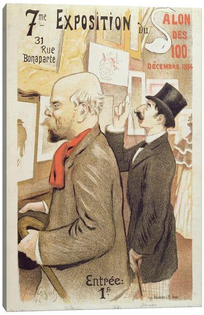 Poster advertising the '7th Exhibition of the Salon des 100', depicting Paul Verlaine  Canvas Art Print