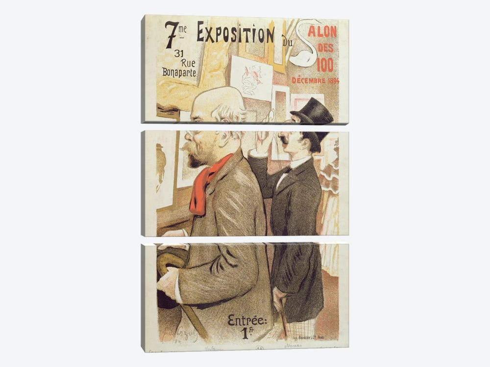 Poster advertising the '7th Exhibition of the Salon des 100', depicting Paul Verlaine  by F.A. Cazals 3-piece Canvas Artwork