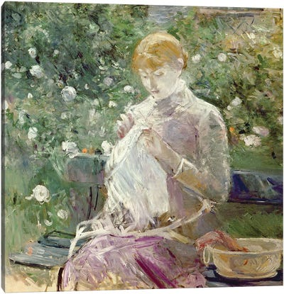Pasie sewing in Bougival's Garden, 1881  Canvas Art Print
