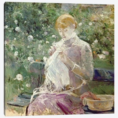 Pasie sewing in Bougival's Garden, 1881  3-Piece Canvas #BMN2201} by Berthe Morisot Canvas Artwork