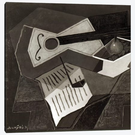Guitar and Fruit bowl, 1926   Canvas Print #BMN2202} by Juan Gris Canvas Art