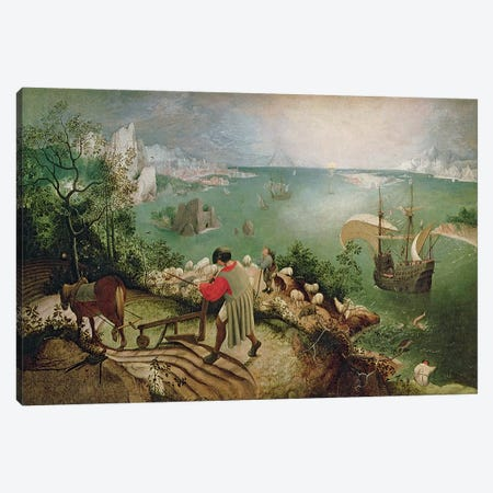 Landscape with the Fall of Icarus, c.1555  Canvas Print #BMN220} by Pieter Brueghel the Elder Canvas Artwork