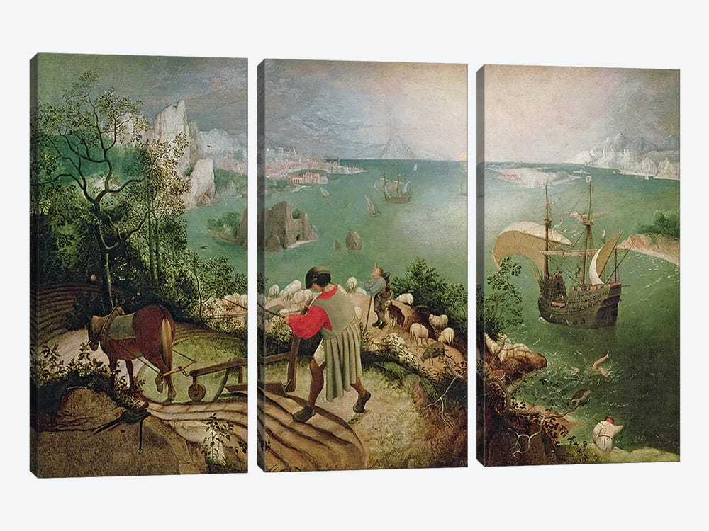 Landscape with the Fall of Icarus, c.1555 by Pieter the Elder Bruegel 3-piece Canvas Wall Art