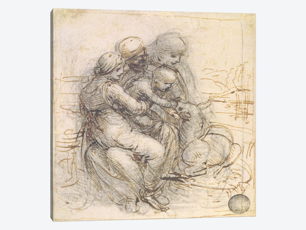 Virgin and Child with St. Anne, c.1501-10  by Leonardo da Vinci 1-piece Canvas Art Print