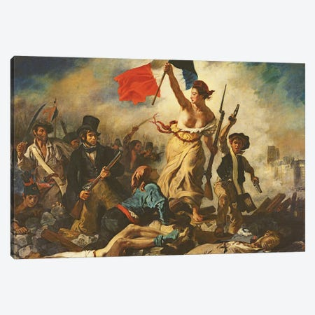 Liberty Leading the People, 28 July 1830, c.1830-31   Canvas Print #BMN221} by Ferdinand Victor Eugene Delacroix Canvas Artwork
