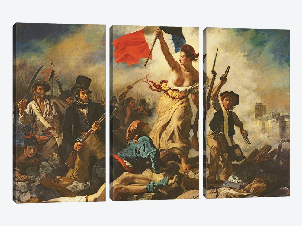 Liberty Leading the People, 28 July 1830, c.1830-31   by Ferdinand Victor Eugene Delacroix 3-piece Canvas Print