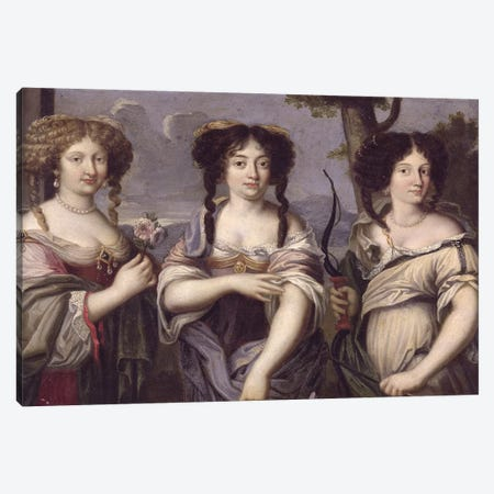 Portrait of three of the nieces of Cardinal Mazarin portrayed as goddesses, Venus, Juno and Diana  Canvas Print #BMN2220} by French School Canvas Artwork