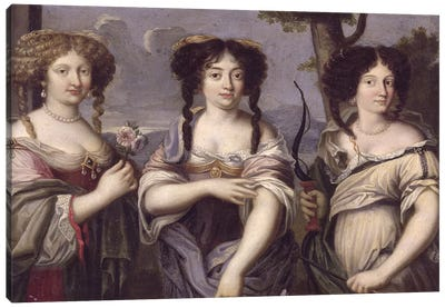 Portrait of three of the nieces of Cardinal Mazarin portrayed as goddesses, Venus, Juno and Diana  Canvas Art Print