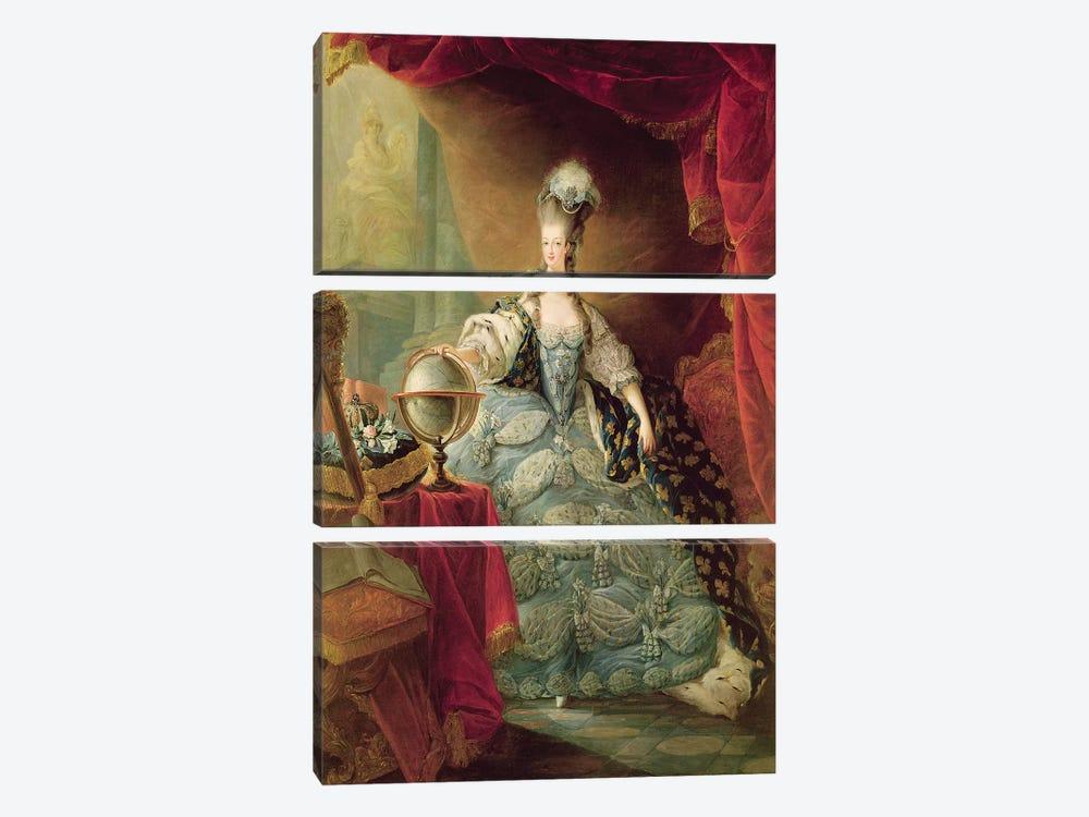 Portrait of Marie Antoinette  by Jean-Baptiste Andre Gautier D'Agoty 3-piece Canvas Art