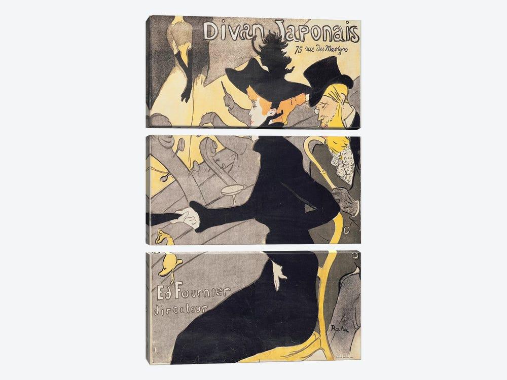 Poster advertising 'Le Divan Japonais', 1892  by Henri de Toulouse-Lautrec 3-piece Canvas Art Print
