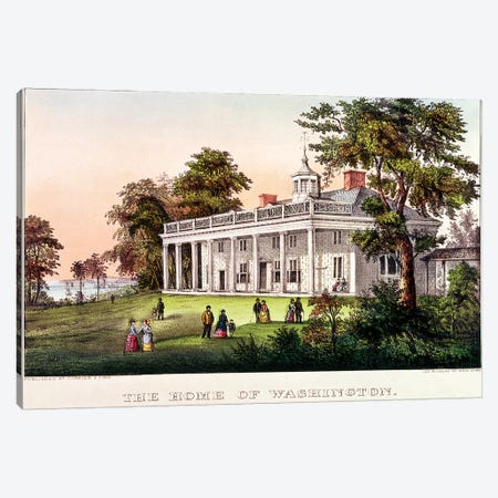 The Home of George Washington, Mount Vernon, Virginia, published by Nathaniel Currier  Canvas Print #BMN2231} by American School Canvas Print