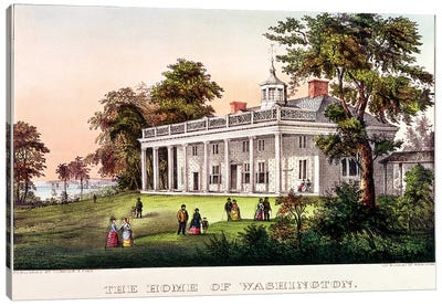 The Home of George Washington, Mount Vernon, Virginia, published by Nathaniel Currier  Canvas Art Print