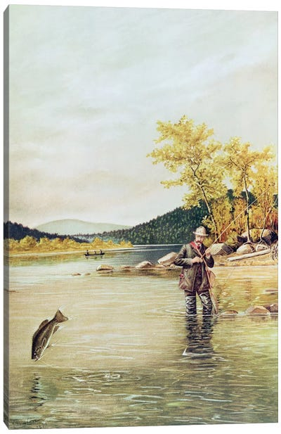Trout Fisherman, 1889 Canvas Art Print