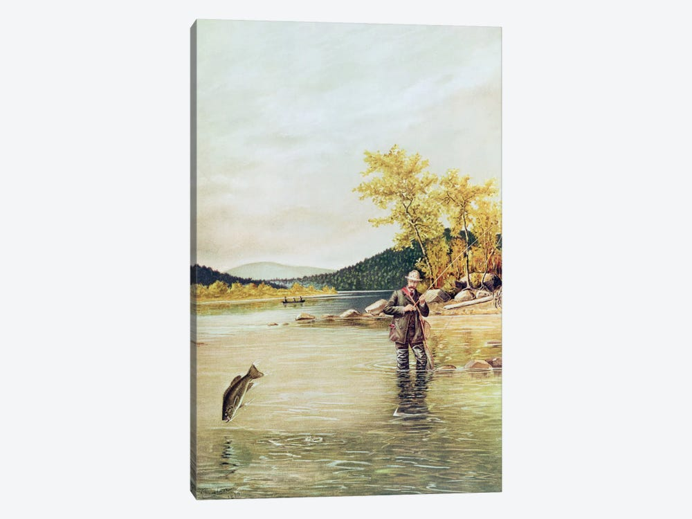 Trout Fisherman, 1889  by Denton 1-piece Canvas Art Print