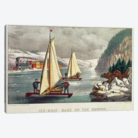 Ice-Boat Race on the Hudson  Canvas Print #BMN2233} by American School Canvas Print