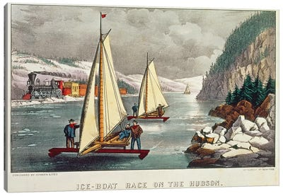 Ice-Boat Race on the Hudson  Canvas Art Print