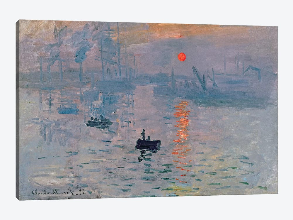 Impression: Sunrise, 1872 by Claude Monet 1-piece Canvas Print