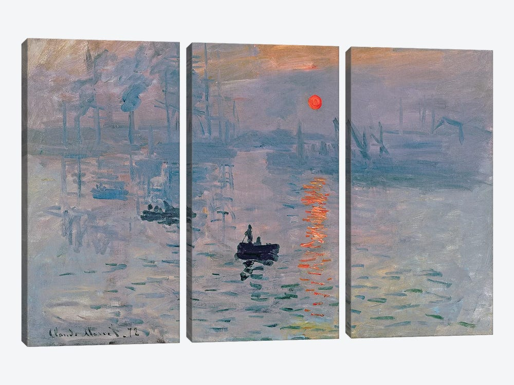 Impression: Sunrise, 1872 by Claude Monet 3-piece Canvas Print