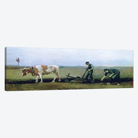 Labourer and Peasant Planting Potatoes, 1884  Canvas Print #BMN2240} by Vincent van Gogh Canvas Art