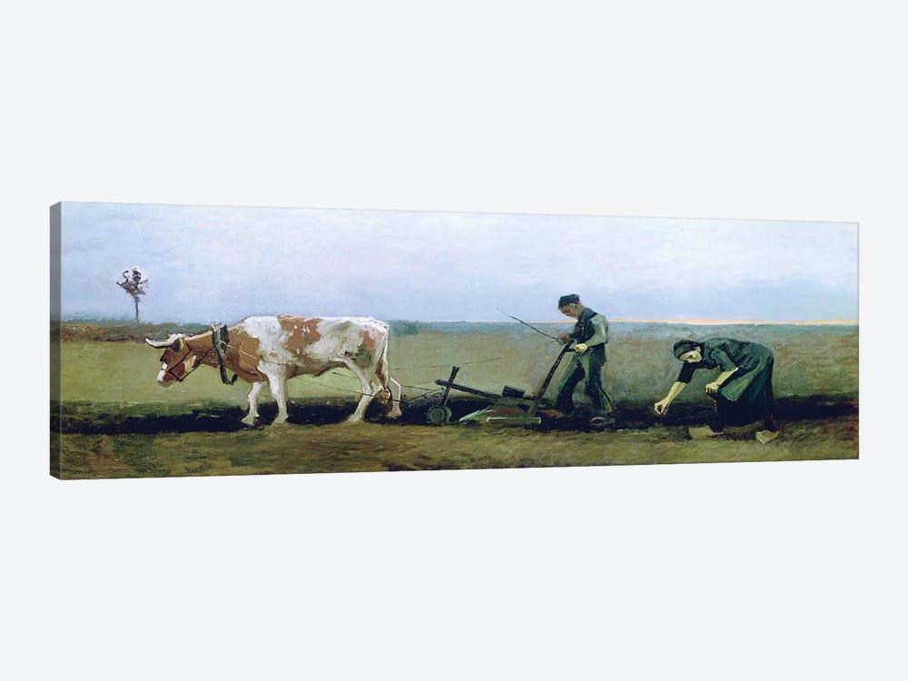 Labourer and Peasant Planting Potatoes, 1884  by Vincent van Gogh 1-piece Canvas Artwork