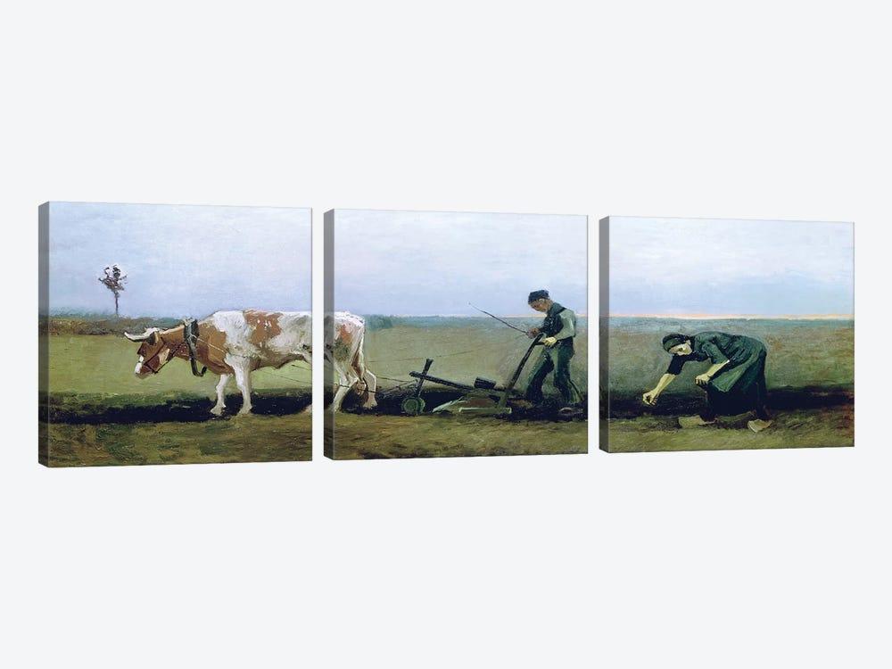 Labourer and Peasant Planting Potatoes, 1884  by Vincent van Gogh 3-piece Canvas Art