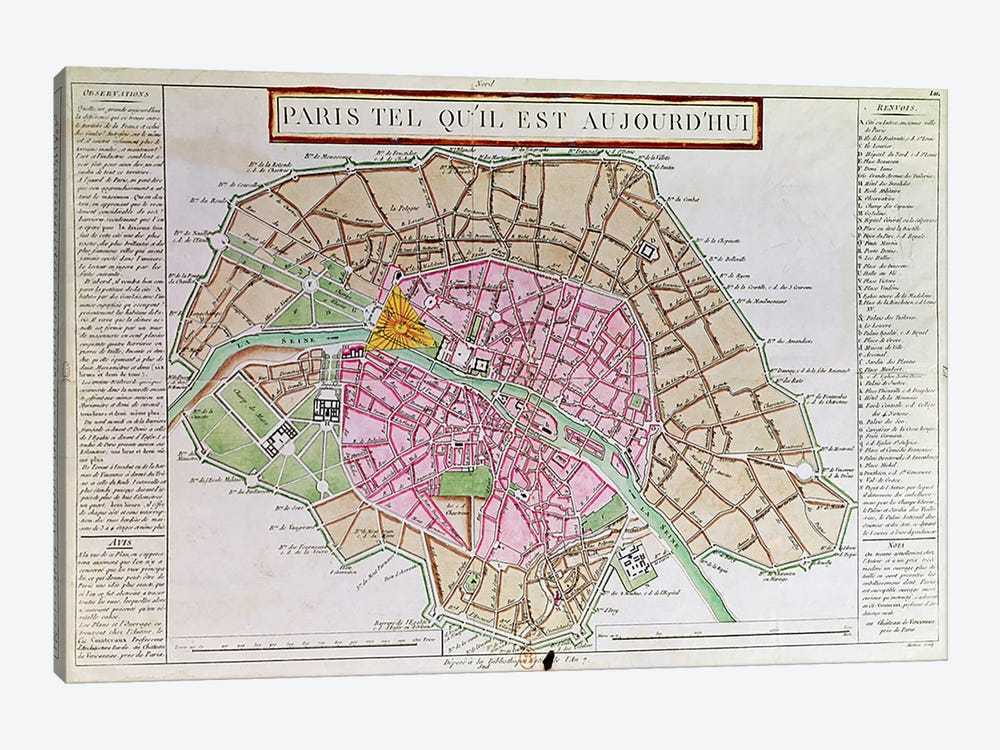 Map of Paris, June 1800  by French School 1-piece Canvas Wall Art