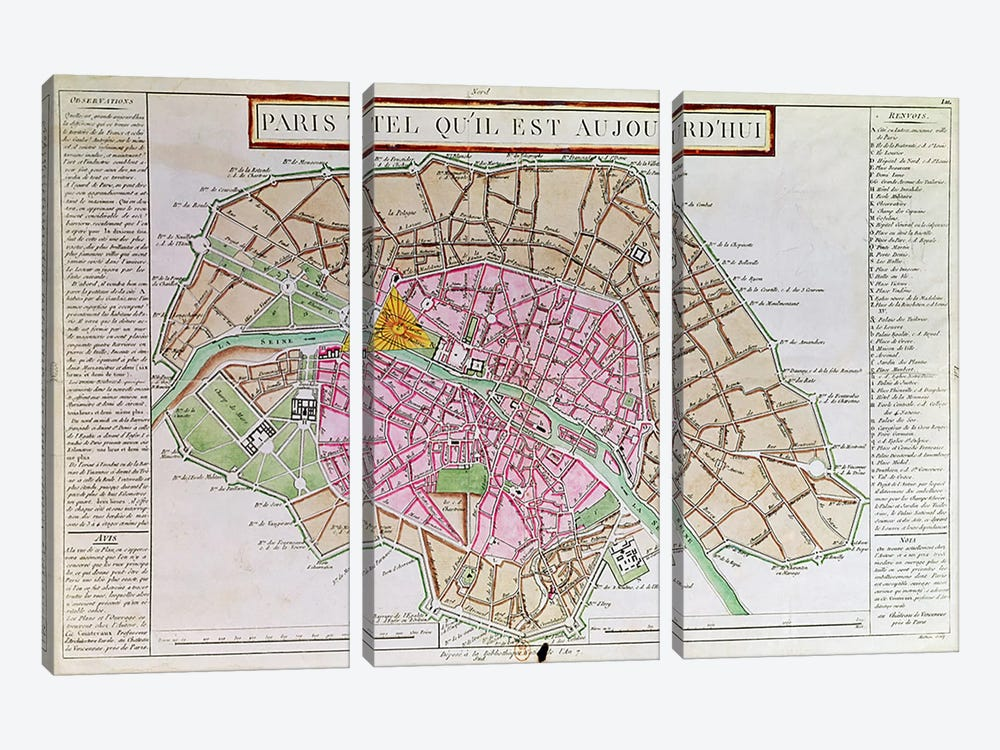 Map of Paris, June 1800  by French School 3-piece Canvas Artwork