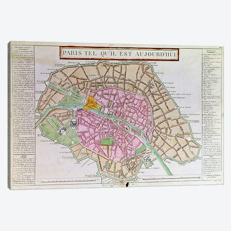 Map of Paris, June 1800  Canvas Print #BMN2244} by French School Canvas Art Print