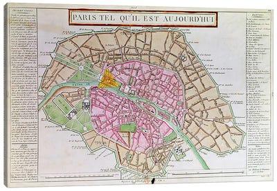 Map of Paris, June 1800  Canvas Art Print