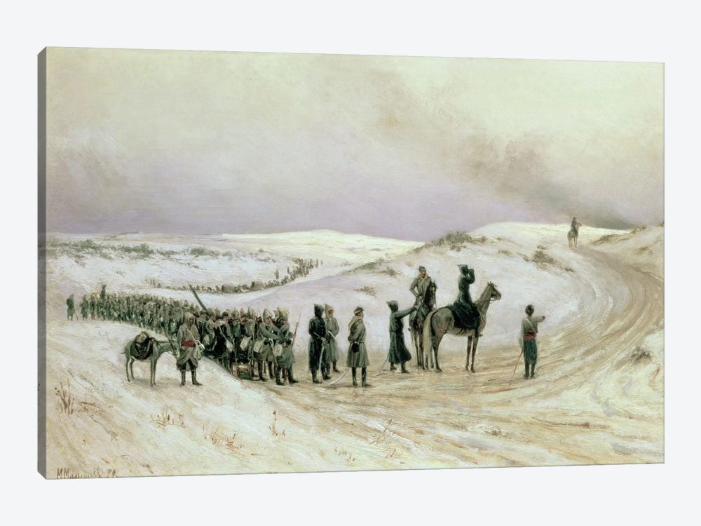 Bulgaria, a scene from the Russo-Turkish War of 1877-78, 1879  by Mikhail Georgievich Malyshev 1-piece Art Print