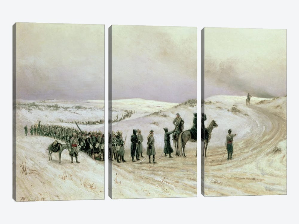 Bulgaria, a scene from the Russo-Turkish War of 1877-78, 1879  by Mikhail Georgievich Malyshev 3-piece Canvas Print