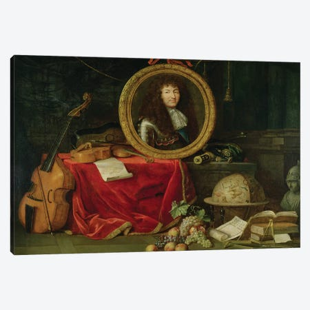 Still life with portrait of King Louis XIV  Canvas Print #BMN2254} by Jean Garnier Canvas Art