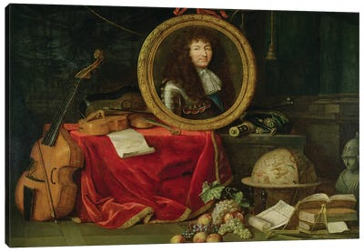 Still life with portrait of King Louis XIV  Canvas Art Print