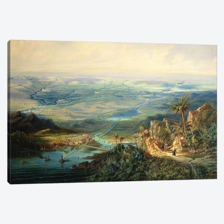 The Suez Canal, 1864  Canvas Print #BMN2266} by Albert Rieger Art Print