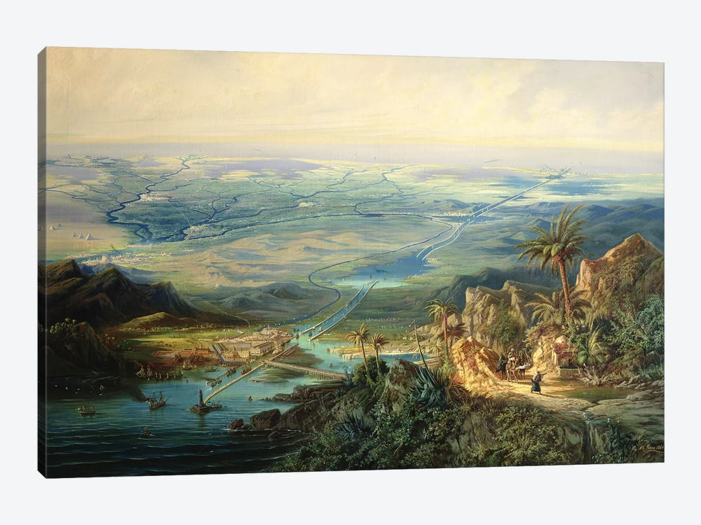 The Suez Canal, 1864  by Albert Rieger 1-piece Canvas Artwork