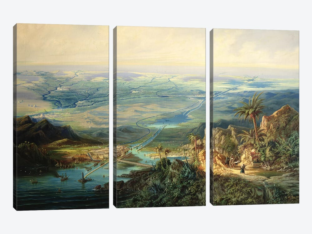 The Suez Canal, 1864  by Albert Rieger 3-piece Canvas Artwork